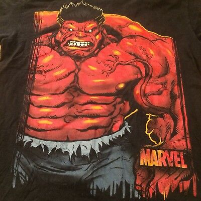 Vintage Marvel The incredible Hulk  Shirt black Red Small Mad Rage L Large
