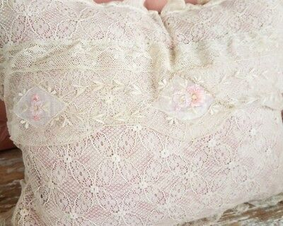 Antique Embroidered Lace Boudior Pillow Valenciennes Trim Lumbar Cushion