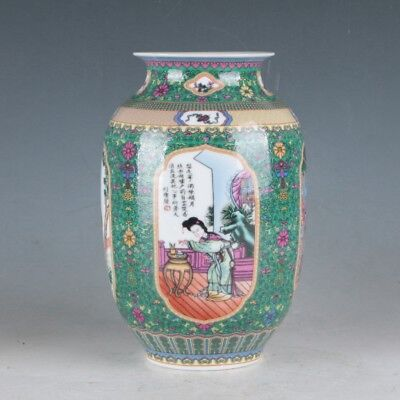 China Colorful Porcelain Hand-Painted Beauty Vase Made During The QianlongPeriod