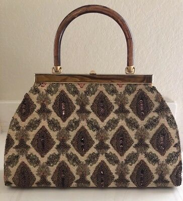 Vintage Mid Century Handbag Elsie Tu Hong Kong Tapestry Beaded Brown Evening