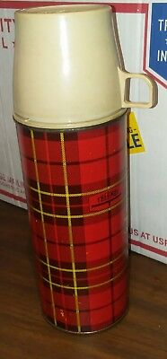 1973 VINTAGE RED PLAID KING SEELEY THERMOS NO 2442 11 1/2 inches tall