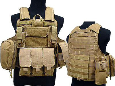 Tactical Military Airsoft Paintball Camo Level 5 Molle Combat Vest Tan Color