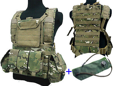 Airsoft Tactical Adjustable MOLLE VEST with Hydration Water Bag Reservoir CP