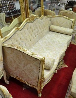 Antique Victorian Louis Style Cream & Gold Parlour Sofa In Buttoned Fabric
