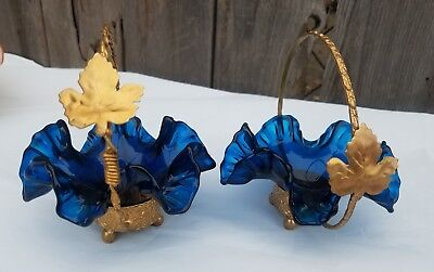 Set of two Victorian Blue Art Glass Ruffled Edge Bowl Bridal Baskets
