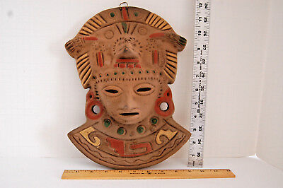 Vintage Warrior Mask, Mexican,South American, Mayan, Aztec, Handmade and painted