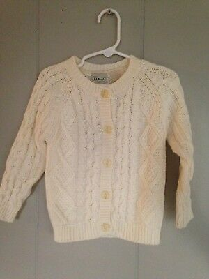 Baby Boy GIrls L.L. Bean Off White Cable Knit Sweater Cardigan 12-18 M Ivory
