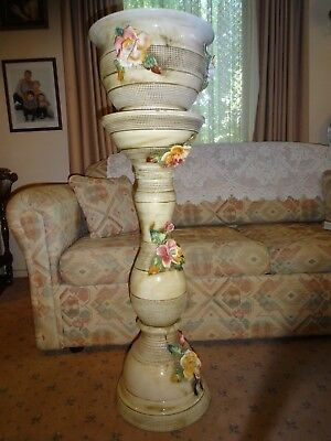 CAPODIMONTE decorative ceramic  pedestal with matching top bowl.Made in Italy.