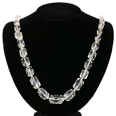 Vintage Art Deco Long Faceted Crystal Glass Bead Necklace