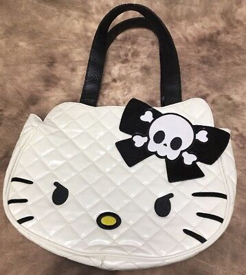 Angry Mad Hello Kitty Skull Goth Punk White Loungefly Face Purse Bag Pocketbook