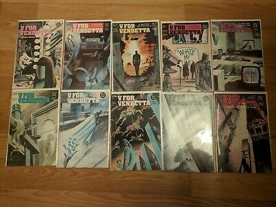 V for Vendetta #1 2 3 4 5 6 7 8 9 10 Complete Set Series Run Lot 1-10  VF/NM