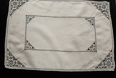 Vintage cream linen crocheted and drawn thread work tray cloth.
