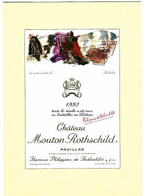 Document 4 pages (25cm X 18cm) Présentation étiquette Mouton-Rothschild 1992.