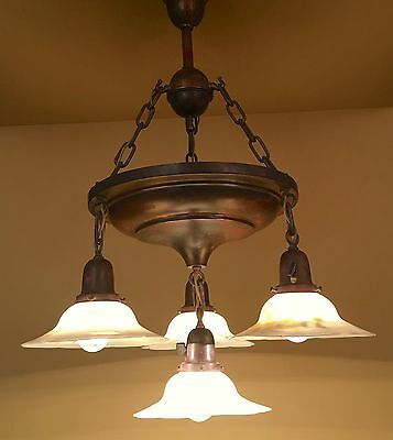 Vintage Lighting extraordinary 1910 chandelier hand painted shades