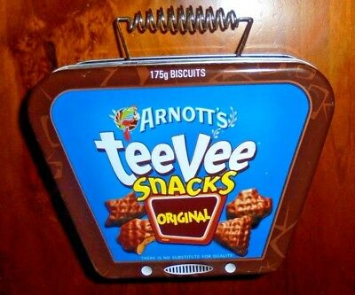 Arnott's collectable TeeVee snacks tin ~ Television (T.V) shaped tin ~  VGC