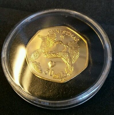 Gold Plated 2006 IOM Christmas 50p Turtle Doves Isle of Man Uncirculated
