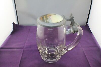 Antique 19th C Godesberg Germany Lead Crystal Stein with Painted Pewter Lid