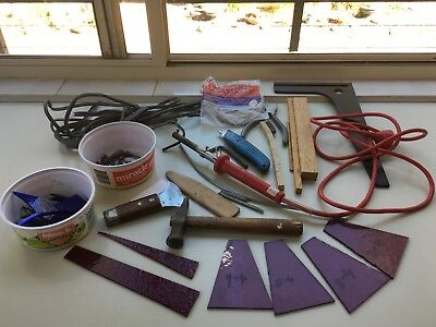 Bulk lot leadlighting tools,glass,soldering iron,lead,copperfoil,weighted knife+
