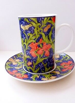 DUNOON Cup and Saucer in fine bone china, in William Morris design