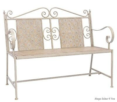 Vintage Garden Bench Steel Antique Relax Hand Painted Seater Balcony  Furniture
