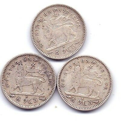 Ethiopia Gersh,   King Menelik II   Lot of 3 Coins Extra Fine  Very Rare