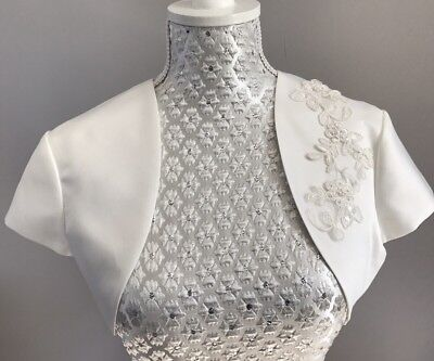 Bridal Wedding Ivory Satin Short Bolero Jacket Shrug  Pearls Floral Lace 10 38