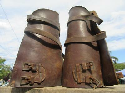1915 WW1 Antique Leather Military Shin Guards Spats Leggings Gaiters Puttees Cav