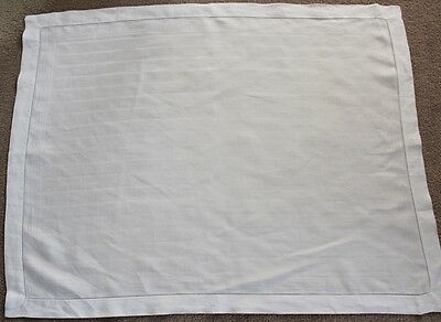 Vintage white strlped linen table top cloth with drawn thread work edges.