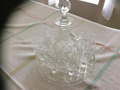Antique Crystal Decanter And Glasses And Tray