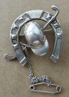 Vintage Silver Lucky Horse Shoe Riding Brooch. JO-4606