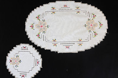 Vintage off-white 2 pieces of hand embroidered floral cloths.