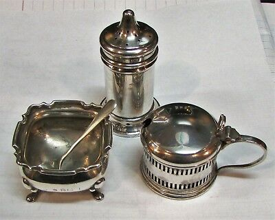 Solid Silver Condiment Set 1922/33 Good Little Birmingham Set