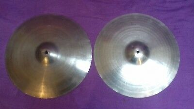 """RARE PAIR Vintage ZYN 14"""" hi-hat cymbals Made by Premier gc USED trashy sound!"""