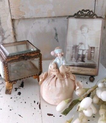 Antique porcelain halfdoll ,pincushion with measuring tape ,ca 1900