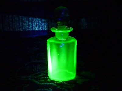 THE PERFUME BOTTLE. URANIUM glass, late 19th, early 20th century