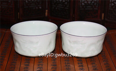 a pair Chinese  porcelain bowl handwork Carved dragon Play beads Kung Fu tea bow