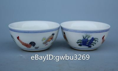 A pair tea bowls Chinese Color porcelain Hand-painted flower bowl W Daming Mark