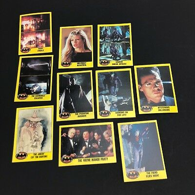 Lot of 10 1989 Batman Movie Topps 2nd Series Vintage Trading Collector Cards