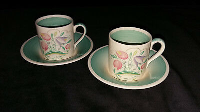 Susie Cooper Green Dresden Spray Coffee Cups and Saucers.