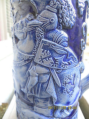 German Cobalt Blue Beer Stein Stoneware Knight On Horseback Soldiers No Lid 8In