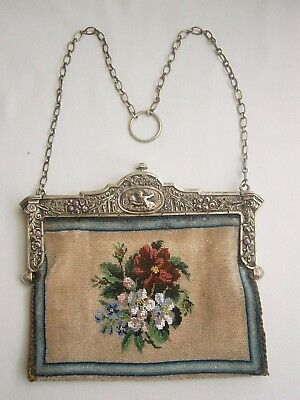 Antique Silver Theatre Ornate Gem Bag Purse circa 1860-70