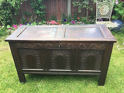 Antique 17th Century Oak Coffer With Working Lock And Key And Secret Compartment