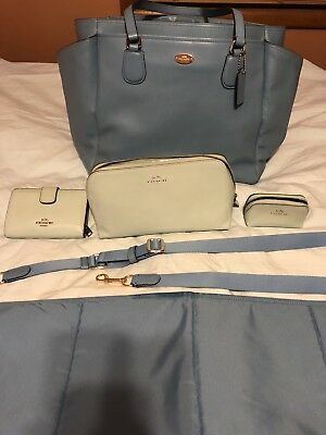 Coach Baby Blue Crossgrain Leather Diaper Baby Bag w/ Wallet and Bags