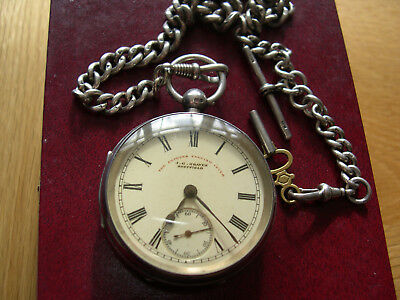 J.g.graves Solid Sterling Antique Silver Pocket Watch And Solid Silver Chain