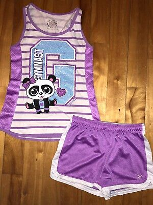 Justice Girls 10 Panda Gymnast Tank Top Shirt Purple Athletic Shorts Set Outfit