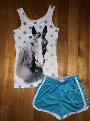 Justice Girl 10-12 Horse Tank Top Shirt Turquise Blue Athletic Shorts Set Outfit