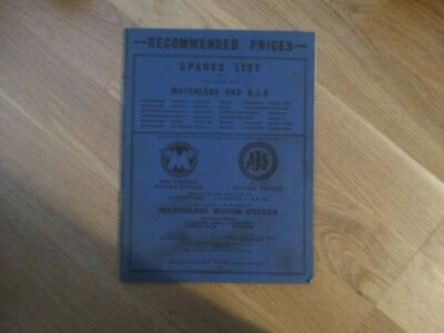 AJS and Matchless 1963and 1964 Spares list - G3, 16, g3C, 16C, 18, G12, 31, CSR