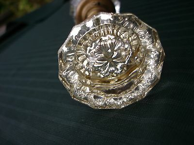 Vintage Used Glass Crystal  Door Knob set from 1930's Home