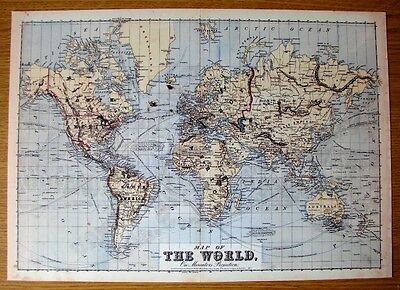 Reproduction On Card Of The Antique World Map On Mercators Projection Of1874