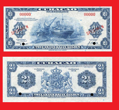 Curacao 2,5 gulden 1942 -  . UNC - Reproduction
